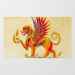 Singha Winged Lion Temple Guardian Rug