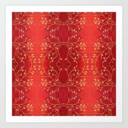 Golden blossoms on red Art Print