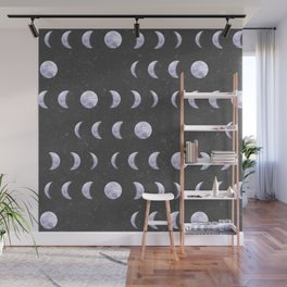 Moon Phases on Textured Grey Wall Mural