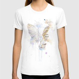 "Watercolor Painting of Picture ""White Owl"" T-shirt"