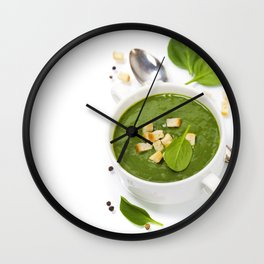Traditional Spinach cream soup with croutons and fresh spinach leaf on top Wall Clock