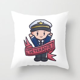 Veteran Parade proud soldier Captain Comic Gift Throw Pillow