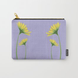 Yellow Daisy Twins on Lavender Carry-All Pouch