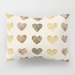 Gold and Chocolate Brown Hearts Pillow Sham