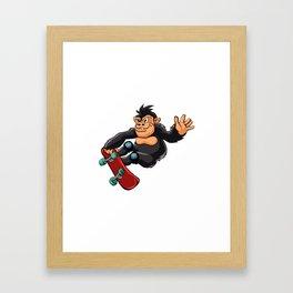 Gorilla skater cartoon Framed Art Print