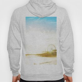 Retro Vintage Ombre Santa Monica Pier Southern California Beach Colored Print Hoody