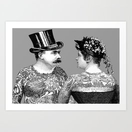 Tattooed Victorian Lovers | Tattooed Couple | Vintage Tattoos | Victorian Tattoos | Victorian Gothic Art Print
