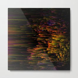 Rainbow Light Speed - Abstract Glitch Pixel Art Metal Print