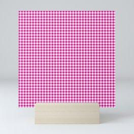 Small Shocking Hot Pink Valentine Pink and White Buffalo Check Plaid Mini Art Print
