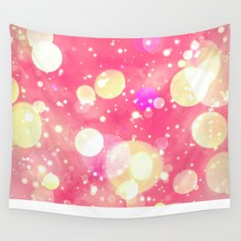 Girly Pink & Vintage Yellow Sparkly Bokeh Pattern Wall Tapestry