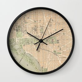 Vintage Map of Washington DC (1892) Wall Clock