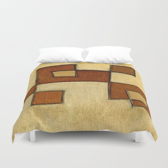 Protoglifo 01 'brown yell' Duvet Cover