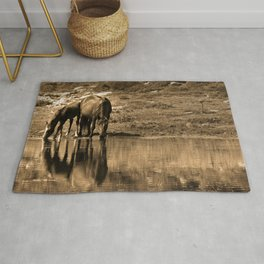 Mother and son drinking Rug