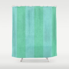 vintage mint and teal stripes Shower Curtain