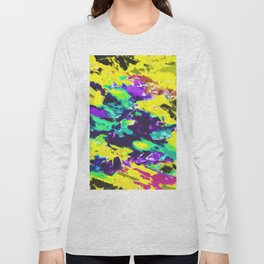 psychedelic splash painting abstract texture in yellow blue green purple Long Sleeve T-shirt