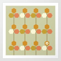 hexagon Art Prints featuring Hexagon by clare nicolson