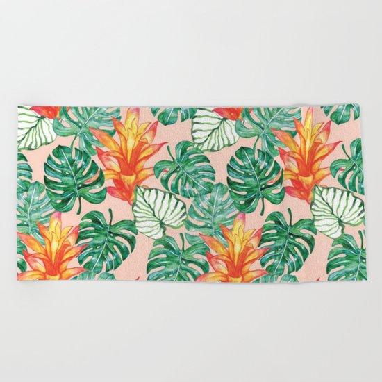 Peach tropical floral Beach Towel