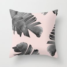 Black and pink palm leaves Throw Pillow