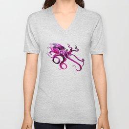 Pink Purple Octopus, sea world, aquatic, beach house octopus artwork Unisex V-Neck
