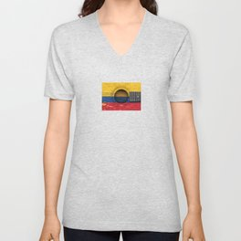 Old Vintage Acoustic Guitar with Colombian Flag Unisex V-Neck