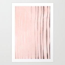 Rose Gold Pastel Pink Vertical Stripes Art Print