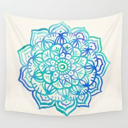 Watercolor Medallion in Ocean Colors Wall Tapestry