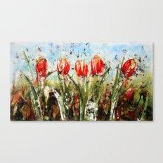 Tulips in Red . Batik Canvas Print