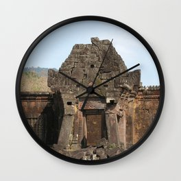 Khmer Temple Facade and Doorway, Champasak Khmer temple complex, Laos Wall Clock