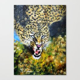 Wildlife Animal Painting Series  - Preying Leopard Canvas Print