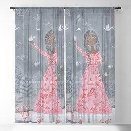 Paper cranes & koi Sheer Curtain