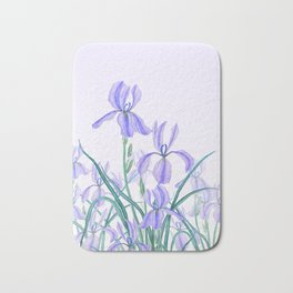 purple iris watercolor Bath Mat