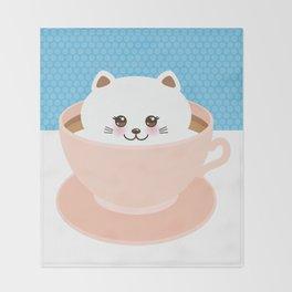 Cute Kawai cat in pink cup, coffee art Throw Blanket