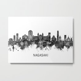 Nagasaki Japan Skyline BW Metal Print