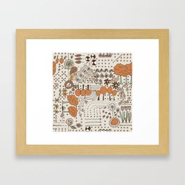 Ditsy Garden in brown Framed Art Print