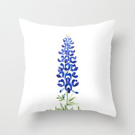 Texas bluebonnet in watercolor Throw Pillow