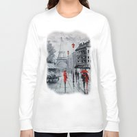 paris Long Sleeve T-shirts featuring Paris by OLHADARCHUK