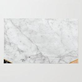 White Marble Black Granite & Wood #711 Rug