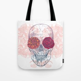 Double Flowers Skull Tote Bag