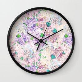 Pastel Purple and blue Lilac & Hydrangea - Flower Design Wall Clock