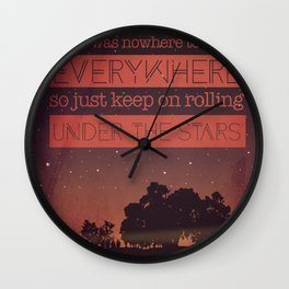 Keep Rolling under the Stars Wall Clock