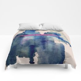 Pour: a blue and purple abstract watercolor Comforters