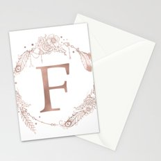 Letter F Rose Gold Pink Initial Monogram Stationery Cards