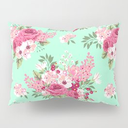 Cottage Chic Roses and Lilacs Floral in Aqua and Pink Pillow Sham