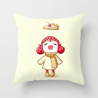 pie Throw Pillows featuring Cherry Pie by Freeminds