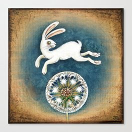 Rabbit with dandelion Canvas Print