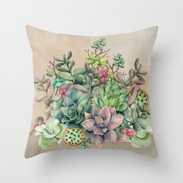 Colorful Succulents in Watercolor Throw Pillow
