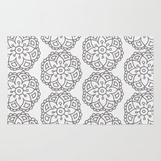 Silver grey lace floral Rug