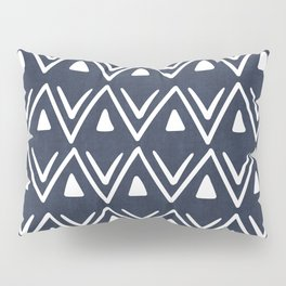 Etched Zig Zag Pattern in Navy Blue Pillow Sham