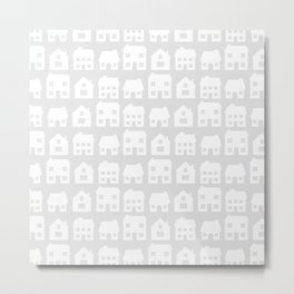 Little Scandi Houses in Gray Metal Print