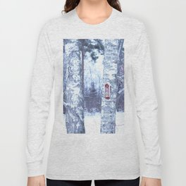 Red Bird House in Winter White Scene #decor #society6 #buyart Long Sleeve T-shirt